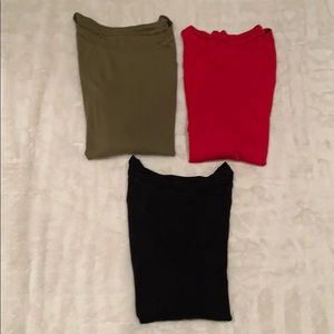 Gap 3/4 Sleeve T-Shirts - red, olive, black